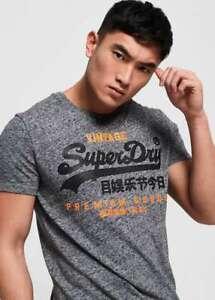Superdry Mens Designer Grey Premium Goods Duo Tee Crew Neck T-Shirt Top New