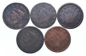 Lot of 5 1817-1857 Early US Large Cent - Dateless - History You Can Hold! *597