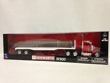 Kenworth W900 w/ Flatbed Trailer And Log Load, 1:43 Diecast, New Ray Toy, Red