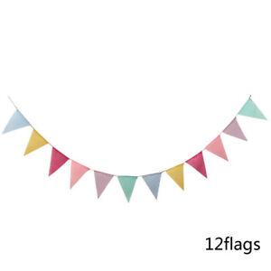 1 Strand Bunting Banner Burlap Fabric Flags Wedding Birthday Party Hanging Decor