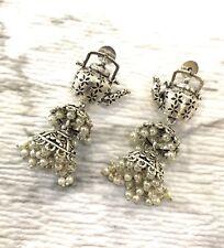 Jhumka Indian Earrings Jhumki Bollywood Jewelry Oxidized Silver Jewellery Teapot