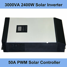 3KVA Pure Sine Wave Solar Inverter  Built-in 50A PWM Solar Charge Controller LCD