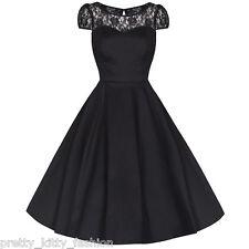 Vintage Black Cotton Lace Rockabilly 50s Swing Prom Cocktail Party Dress Plus