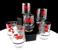 "FEDERAL GLASS DEPRESSION ERA 6 PIECE RED ENAMEL SCOTTIE DOG 3 1/8"" JUICE GLASSES"