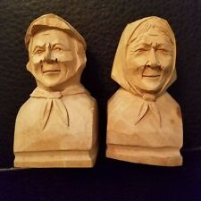 Vtg 1950s QUEBEC St-Jean-Port-Joli Bourgault wood carved folk art candle holders