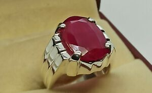 Rare Ruby Mens Ring Sterling Silver 925 Roby Ring yakoot Handmade Yaqoot Ring