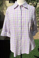 8a905dc9112 NWOT Westbound Size L Purple Plaid 3/4 Sleeve Cotton Blouse Shirt Top