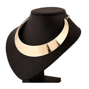 Women's Girls Fashion Rock Chic Gold Choker Collar Necklace Plated Bib Torque UK