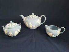 Wedgwood Light Blue Jasperware Théière Set avec pot à lait & Couvercle Sucrier