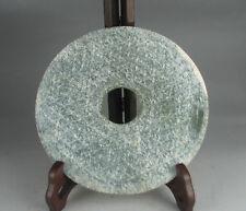 Chinese green jade carved Valley line design round Bi pendant