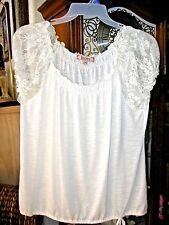 Decree White Lace Trim Gathered Neckline Blouse.Tie on Hem. Pre-Owned SZ. XL/XG
