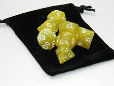 Wiz Dice 7 Die Polyhedral Set King's Ransom Yellow RPG DnD Dice With Dice Bag