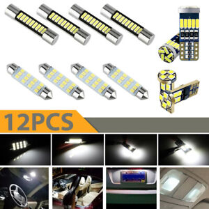 12x T10 White LED Bulbs Car Interior Lights Package Kit Trunk License Plate Lamp