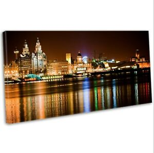 Canvas Print Liverpool Skyline Over The Mersey Panoramic Framed Art Picture