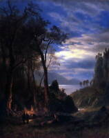 Albert Bierstadt The Campfire American Fine Art Giclee Print on Canvas Small