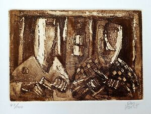 """Pro Hart Original Etching. """"Crib Time"""". Signed by Pro Hart & Numbered 43/100"""