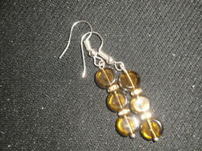 Dainty silver plated round yellow glass & clear crystals earrings