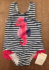 NWT Girls Gymboree Size 6-12 Month Pink Striped Seahorse Swimsuit With Ruffles