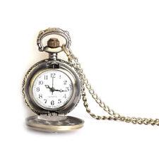 Retro Bronze Travelpro Antique Quartz Chian Necklace Pendant Pocket Watch Gifts
