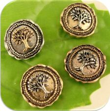 2 Hole Beads Tree of Life Wax Seals ~ Silver Copper Gold 3T Metal Sliders QTY 4