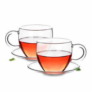 Classic Clear Heat-resistant Glass Tea Cup w/ Handle with Saucer Set