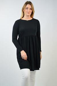 SIMPLY BE Black Half Sleeve Jersey Smock Dress Tunic Top Plus Size 12-26