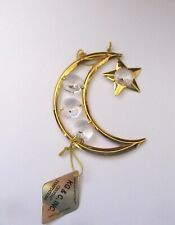 Ornament  MOON & STAR   24k gold plated- Austrian crystals --clear dangling star