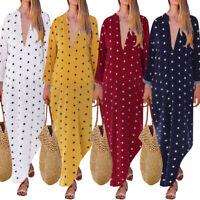 ZANZEA UK Womens Ladies Polka Dot Deep V Long Split Kaftan Sundress Maxi Dress