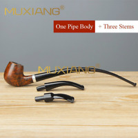 3 in1 Churchwarden Tobacco Pipes Briar Wood Classic Smoking Pipe 3mm Filter New