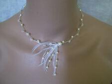 Collier Blanc/Cristal plume p robe de Mariée/Mariage/Cérémonie perles pas cher