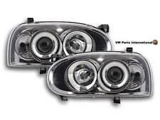 VW Golf MK3 GTI TDI VR6 Headlight With Light Ring In Chrome L & R Set New (LHD)