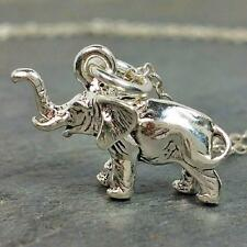 African Elephant Necklace - 925 Sterling Silver - 3d Zoo Safari Charm Jewelry