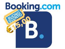 Accredito di 15 € da BOOKING.COM coupon gratis prenotazione hotel ostelli b&b