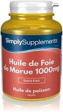 Huile de Foie de Morue 1000mg - Riche en acides gras oméga 3 - 360 Gélules
