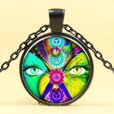 Wholesale Cabochon Glass Black  Chain Pendant Necklace ,Seven chakras Yin - yang