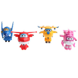 Set of 4 Pieces Super Wings Transforming Plane Robot Animation Model Toys