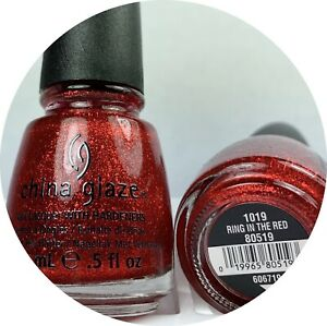 China Glaze Nail Polish Ring In The Red 1019 Ruby Red 3-D Micro Glitter