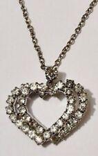 pendentif chaine double coeur cristaux diamant bijou vintage couleur argent 1769