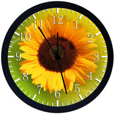 Sun Flower Black Frame Wall Clock Nice For Decor or Gifts W145