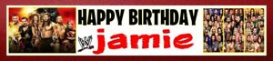 NEW WWE WRESTLING PERSONALISED BIRTHDAY CELEBRATION PARTY BANNER