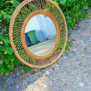 Spiegel mit Rahmen aus Rattan, rund, Indonesien