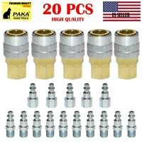 20 pc Heavy Duty Quick Coupler Set Air Hose Connector Fittings 1/4 NPT Tools