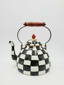 Large Mackenzie-Childs Teapot Courtly Check Tea Kettle Large