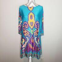 Reborn Paisley Print Shift Dress Sz XXL Women's 3/4 Sleeve Boat Neck Midi Green
