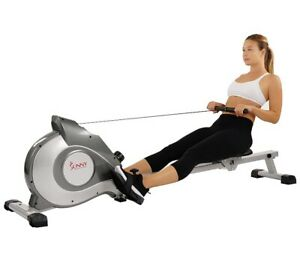 Sunny Health & Fitness Magnetic Rowing Machine - Grey And White