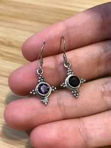 vtg Sterling silver earrings, 925 w/ oval amethyst N beads