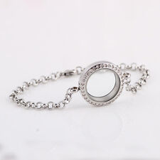 NEW Lovely Silver Magnetic Floating Crystal Living Memory Locket Bracelet Charms