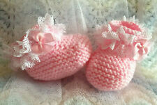 0-3m CREAM SPARKLE Baby Booties Cream Lace//Satin Bows Organza Gift Bag Newborn