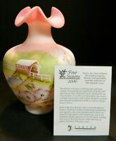 Limited Edition Hand Painted Fenton 4 Season Covered Bridge Burmese Glass Vase