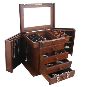 Large Wooden Jewellery Boxes Ring Storage Cabinet Mirror Display Organiser Gifts